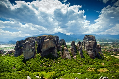 The view of Meteora rocks in Greece Stok Fotoğraf