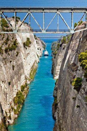The boat crossing the Corinth channel in Greece, not far from Athens