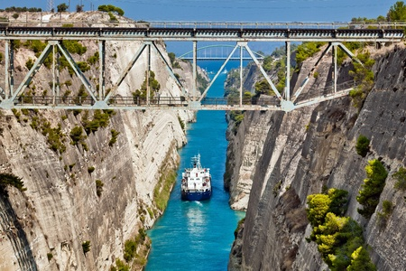 The boat crossing the Corinth channel in Greece, near Athens