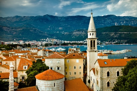 The landscape of old city Budva, Montenegro Standard-Bild