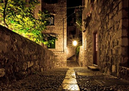 The street of Dubrovnik city at night, Croatia