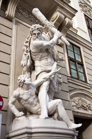 The statues of Hercules outside the Hoffberg Palace, Vienna, Austria