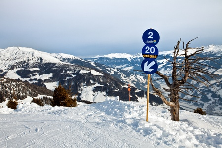 Blue skiing route in resort Mayrhofen, Austria photo