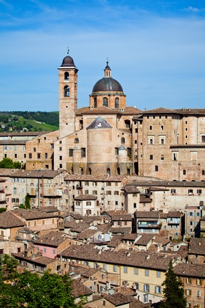 city view on the sunset, Urbino, Italy photo