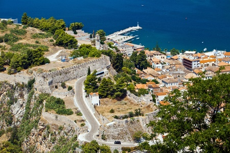nafplio: view from Bourtzi castle in Nafplion, Greece Stock Photo