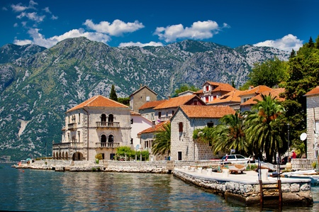 The landscape of Perast town in Montenegro Stock fotó
