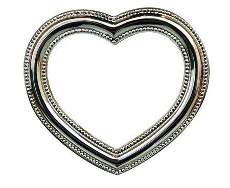 Der Chrome Frame-Herz auf weißem Hintergrund Standard-Bild - 14459530