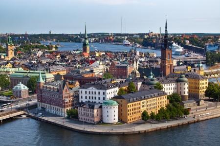 Panorama van Stockholm stad vanaf het stadhuis, Zweden Stockfoto