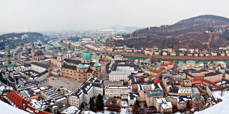 Panorama view of Salzburg city in winter   Stock fotó