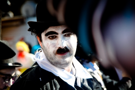 LIMASSOL, CYPRUS - MARCH 17  Carnival participant in costume of Charlie Chaplin in Cyprus Carnival Parade on March 17, 2013 in Limassol, Cyprus Editöryel