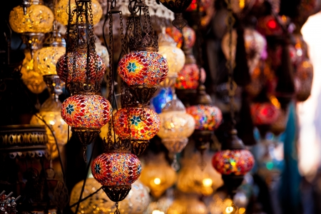 lamps for sale on Grand Bazaar at Istanbul, Turkey Stock Photo