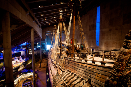 reconstructed: Famous ancient reconstructed vasa vessel in Stockholm, Sweden