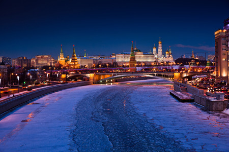 Moscow River and Kremlin in winter, night view photo