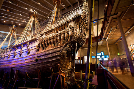 Famous ancient reconstructed vasa vessel in Stockholm, Sweden