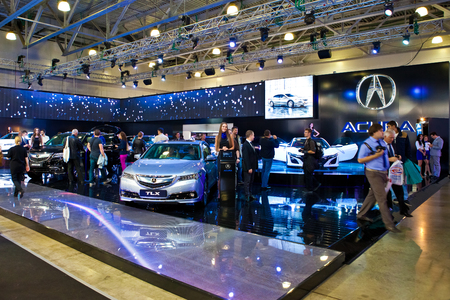 acura: MOSCOW, RUSSIA - SEPTEMBER 3: Honda Acura stand at Moscow Motor Show on September 3, 2012 in Moscow, Russia