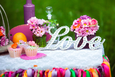 Sweet table or candy bar on wedding or event party
