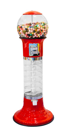 multicolored gumballs: Gumball vending machine with colorful gumballs isolated on white background
