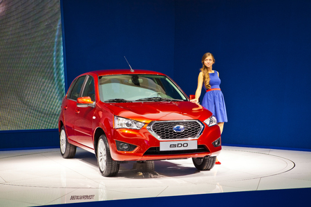 acura: MOSCOW, RUSSIA - SEPTEMBER 3: Presentation of Datsun mi-do car on Moscow Motor Show on September 3, 2014 in Moscow, Russia