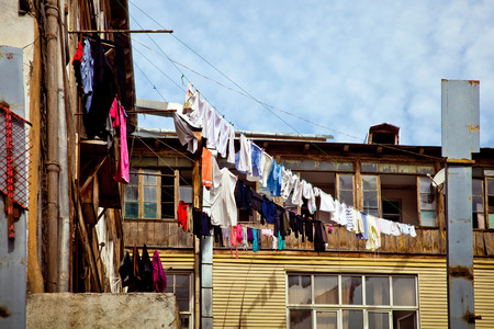 drying: Drying clothes on the balcony in Tbilisi, Georgia