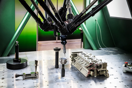 coordinate: Closeup of six-axis coordinate measuring machines (CMMs).