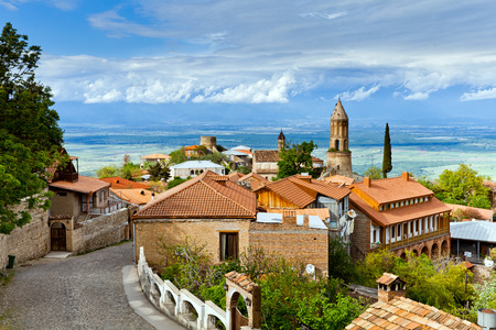 historica: Sighnaghi (Signagi) is a georgian town in Georgias easternmost region of Kakheti.  Important center of Georgias tourist industry. Sighnaghi is known as a Love City in Georgia. Stock Photo