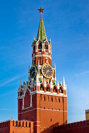 """The Spasskaya Tower translated as """"Savior Tower"""" is the main tower with a through-passage on the eastern wall of the Moscow Kremlin situated on Red Square in Moscow, Russia"""