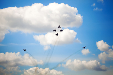 aerobatic: Aerobatic team performs flight maneuver, air show in Moscow, Russia