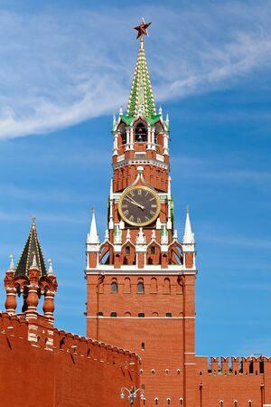 The Spasskaya Tower translated as Savior Tower is the main tower with a through-passage on the eastern wall of the Moscow Kremlin situated on Red Square in Moscow, Russia