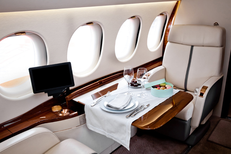 Business Jet airplane interior Редакционное