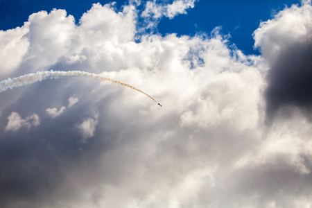 max: Background of jet fighter show in blue sky Stock Photo