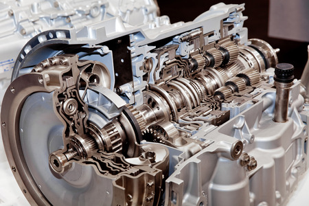 spare car: Modern car engine cross section Stock Photo