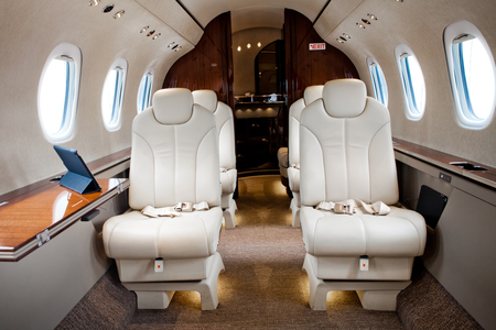 cabina: Business Jet airplane interior Editorial