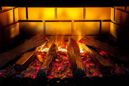 fires artificial: Artificial electronic fireplace closeup view