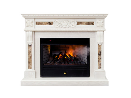 White luxury artificial electronic fireplace with firewoods isolated on white