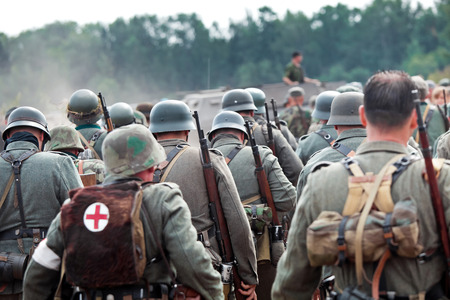 squad: Squad of german soldiers on historical reconstruction of the Second World War.