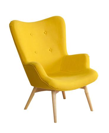 Cadeira moderna amarela isloated no fundo branco Imagens