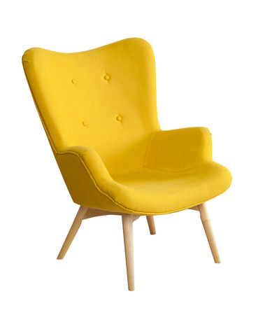 isolated on yellow: Yellow modern chair isloated on white background