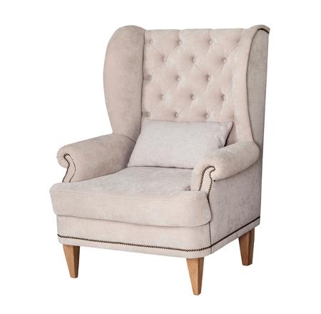 편안한 클래식 한 회색 의자 흰색 배경에 고립 스톡 콘텐츠