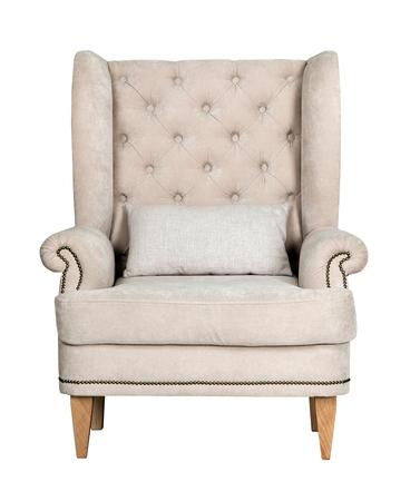 Comfortabele klassieke grijze stoel op een witte achtergrond Stockfoto