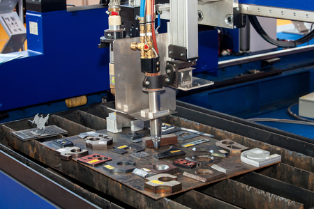 marking up: Metall processing - laser cutting machine Stock Photo