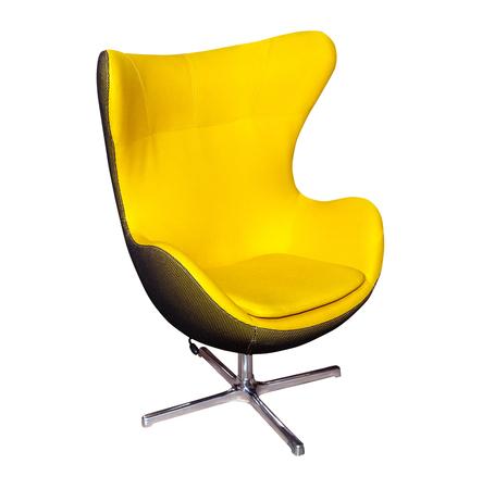 흰 배경에 고립 된 노란색 사무용 현대 의자