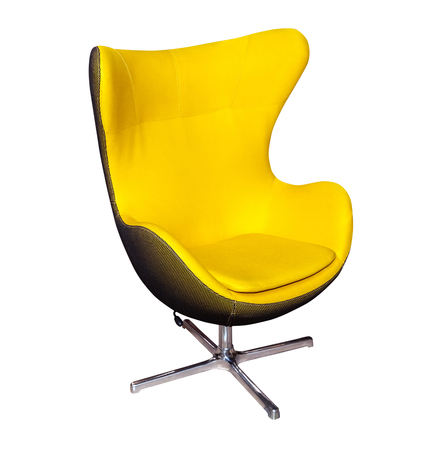 Yellow office modern chair isolated on white background