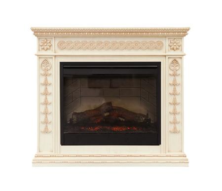 Luxury fireplace isolated on white background Stok Fotoğraf