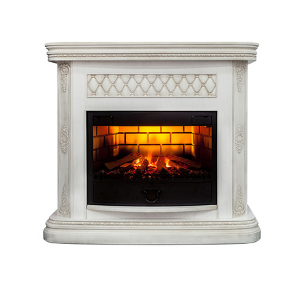 fireplace home: Luxury fireplace isolated on white background Stock Photo