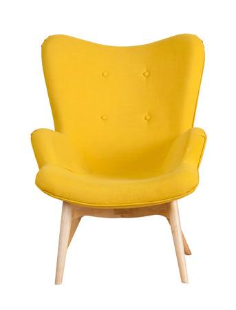 노란색 현대의 자 흰색 배경에 고립