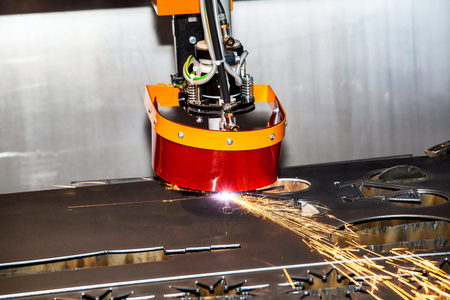 processing speed: Metall processing - laser cutting machine Stock Photo