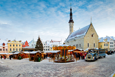 town hall square: TALLINN, ESTONIA - DECEMBER 12, 2012: Christmas market on town hall square in Tallinn, Estonia