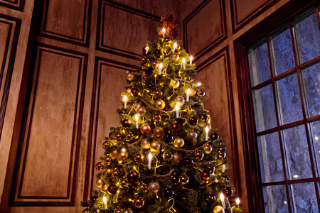 grunge room: New Year Tree decorated in grunge room interior