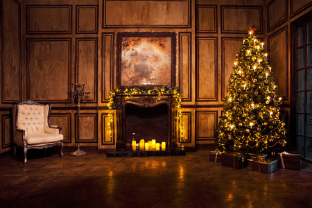christmas fireplace: Classic New Year Tree decorated in grunge room interior