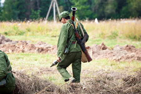 world war 2: MOSCOW, RUSSIA - AUGUST 09, 2015: Reconstruction of World War 2. Japan soldier with weapon